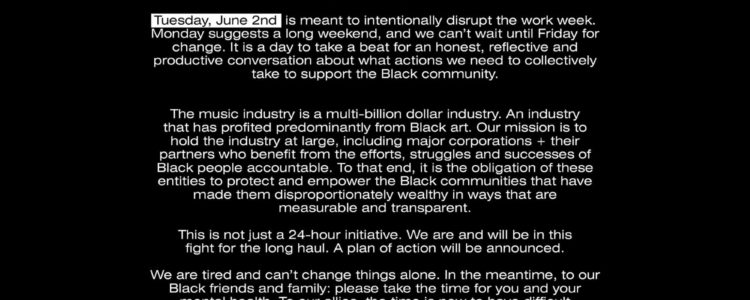 No Time 4 The Small Talk Blacks Out for #BlackOutTuesday